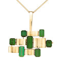 Estate Jewelry:Necklaces, Green Tourmaline, Gold Pendant-Brooch-Necklace . ...