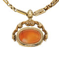 Estate Jewelry:Other, Victorian Agate, Gold Watch Chain & Fob. ...