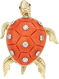 Estate Jewelry:Brooches - Pins, Diamond, Coral, Ruby, Platinum, Gold Brooch. ...