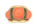 Estate Jewelry:Rings, Coral, Enamel, Gold Ring. ...