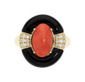Estate Jewelry:Rings, Coral, Diamond, Black Onyx, Gold Ring. ...