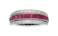 Estate Jewelry:Rings, Diamond, Ruby, Sapphire, White Gold Ring. ...