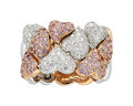 Estate Jewelry:Rings, Diamond, Pink Sapphire, Gold Ring The heart ri...