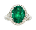 Estate Jewelry:Rings, Emerald, Diamond, White Gold Ring, Orianne. ...