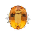 Estate Jewelry:Rings, Citrine, Diamond, Platinum Ring. ...