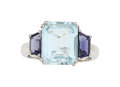 Estate Jewelry:Rings, Aquamarine, Tanzanite, White Gold Ring The rin...