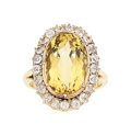 Estate Jewelry:Rings, Antique Heliodor, Diamond, Gold Ring . ...