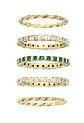 Estate Jewelry:Rings, Diamond, Emerald, Gold Eternity Bands. ... (Total: 5 Items)