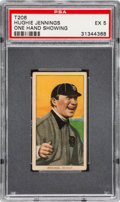 Baseball Cards:Singles (Pre-1930), 1909-11 T206 Sweet Caporal Hughie Jennings (One Hand) PSA EX 5 -Scarce Factory 42 Overprint....