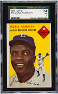 Baseball Cards:Singles (1950-1959), 1954 Topps Jackie Robinson #10 SGC 84 NM 7. Offere...