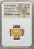 Ancients:Byzantine, Ancients: Justin II (AD 565-578). AV solidus (4.47 gm). NGC MS 5/5- 5/5....