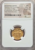 Ancients:Byzantine, Ancients: Heraclius (AD 610-641), with Heraclius Constantine and Heraclonas. AV solidus (4.48 gm). NGC MS 4/5 - 4/5....