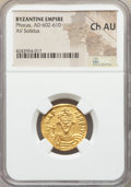 Ancients:Byzantine, Ancients: Phocas (AD 602-610). AV solidus. NGC Choice AU....