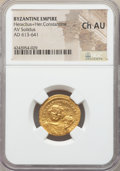 Ancients:Byzantine, Ancients: Heraclius (AD 610-641) and Heraclius Constantine (AD613-641). AV solidus. NGC Choice AU....