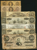 Confederate Notes:Group Lots, Seven Confederate Notes Including a T63 Facsimile Used as an AdNote.. ... (Total: 7 notes)