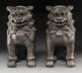 Asian:Japanese, A Pair of Japanese Bronze Foo Dogs. Marks: Four-character mark. 15h x 7-1/2 w x 12 d inches (38.1 x 19.1 x 30.5 cm). ... (Total: 2Items)
