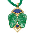 Estate Jewelry:Pendants and Lockets, Jadeite Jade, Lapis Lazuli, Gold Pendant-Necklace, David Webb. ...