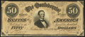 """Confederate Notes:1864 Issues, """"For Begisteb For Treasubeb"""" Error T66 $50 1864 PF-16.. ..."""