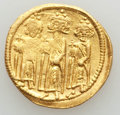 Ancients:Byzantine, Ancients: Heraclius (AD 610-641), with Heraclius Constantine and Heraclonas. AV solidus (4.44 gm). XF, areas of striking weakness. ...