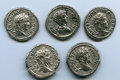 Ancients:Ancient Lots  , Ancients: ANCIENT LOTS. Roman Imperial. Severan Era (AD 198-222).Lot of five (5) AR denarii. VF-About XF.... (Total: 5 coins)