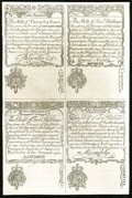 Colonial Notes:New Hampshire, New Hampshire April 1, 1737 3s/36d-2s/2s-Crown/5s-Angel/10s Cohen Reprint Uniface Uncut Sheet New.. ...