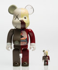 Fine Art - Sculpture, American:Contemporary (1950 to present), KAWS (b. 1974). BE@RBRICK Dissected Companion 100% and400% (Red) (two works), 2008. Painted cast vinyl. 11 x 5-1/4... (Total: 2 Items)
