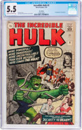 Silver Age (1956-1969):Superhero, The Incredible Hulk #5 UK Edition (Marvel, 1963) CGC FN- 5.5 Cream to off-white pages....
