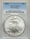 Modern Bullion Coins: , 2003 $1 Silver Eagle MS70 PCGS. PCGS Population: (926). NGC Census: (2680). CDN: $198 Whsle. Bid for problem-free NGC/PCGS ...