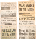 Explorers:Space Exploration, Apollo 11 Newspapers: Collection of Sixteen Dated July 21, 1969, All with Exciting Headlines. ...
