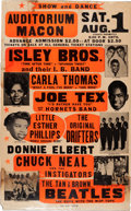 Music Memorabilia:Posters, Isley Bros./Drifters Auditorium Macon Concert Poster (1964).Extremely Rare. ...