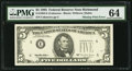 Insufficient Inking of Green Portion of Third Printing Error Fr. 1984-E $5 1995 Federal Reserve Note. PMG Choice Uncircu...