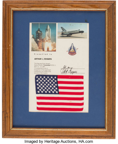 Space Shuttle Columbia (STS-1) Flown American Flag on Presentation ...