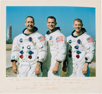 Apollo 9 Large White Spacesuit Color Photo, Crew-Signed on the Presentation Mat to Houston Oilers Owner Bud Adams