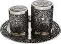 Explorers:Space Exploration, Apollo 12 Bullseye World Tour: Indonesian Sterling Silver Tea Canisters with Tray Presented to and Directly from the Personal ...