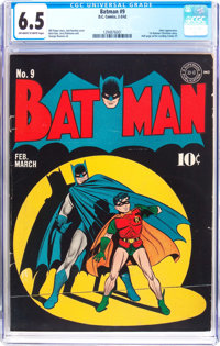 Batman #9 (DC, 1942) CGC FN+ 6.5 Off-white to white pages