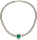 Estate Jewelry:Pendants and Lockets, Colombian Emerald, Diamond, Platinum, White Gold Necklace. ...