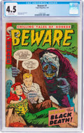 Golden Age (1938-1955):Horror, Beware #7 (Trojan/Prime, 1954) CGC VG+ 4.5 Off-white pages....