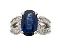 Estate Jewelry:Rings, Sapphire, Diamond, White Gold Ring . ...