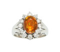Estate Jewelry:Rings, Fire Opal, Diamond, Platinum Ring . ...