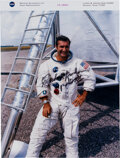 Autographs:Celebrities, Richard Gordon Signed Red Number White Spacesuit Color Pho...
