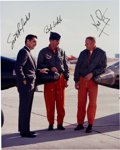 Autographs:Celebrities, Neil Armstrong, Robert White, and Scott Crossfield Signed X-15 Color Photo....