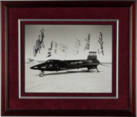 Neil Armstrong and Six Additional X-15 Pilots Signed Large Photo in Framed Display