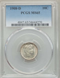 Barber Dimes: , 1908-D 10C MS65 PCGS. PCGS Population: (14/19). NGC Census: (19/12). CDN: $425 Whsle. Bid for problem-free NGC/PCGS MS65. M...
