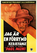 "Movie Posters:Film Noir, I Am a Fugitive from a Chain Gang (First National, 1933). Swedish One Sheet (27.5"" X 39.5"").. ..."