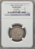 Coins of Hawaii , 1883 25C Hawaii Quarter -- Stained -- Details NGC. AU. NGC Census: (33/1209). PCGS Population: (99/1693). CDN: $140 Whsle. ...