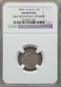 Coins of Hawaii , 1883 10C Hawaii Ten Cents -- Stained, Obv Scratched -- Details NGC. AU. NGC Census: (24/240). PCGS Population: (67/309). CD...