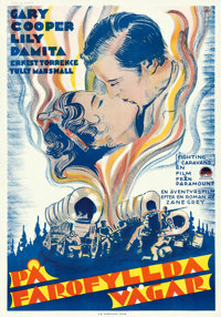 "Fighting Caravans (Paramount, 1931). Swedish One Sheet (27.5"" X 39.5"") Gosta Aberg Artwork"