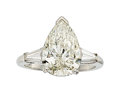 Estate Jewelry:Rings, Diamond, Platinum Ring The ring features a pea...