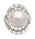 Estate Jewelry:Rings, South Sea Cultured Pearl, Diamond, Platinum Ring . ...