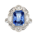 Estate Jewelry:Rings, Ceylon Sapphire, Diamond, White Gold Ring . ...